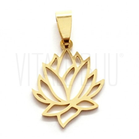 Pendente flor de lótus dourado...