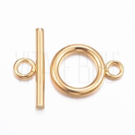 Fecho T 12mm dourado - Aço ino...