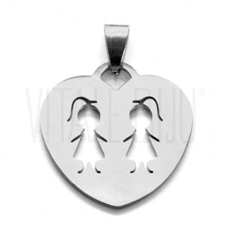Medalha coração 2 meninas - Aç...