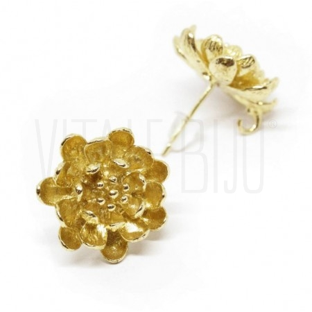 Base brinco flor 15mm cobre