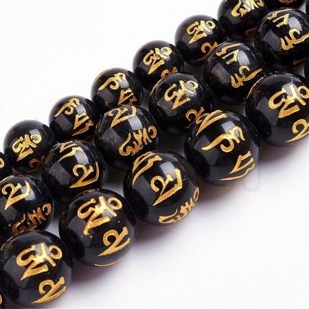 Contas de pedra natural Obsidi...