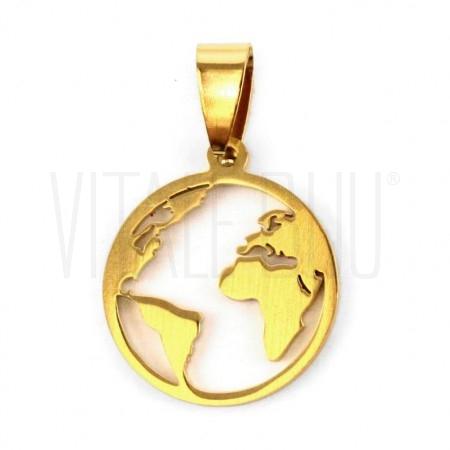 Medalha mundo 25mm- aço inox ...