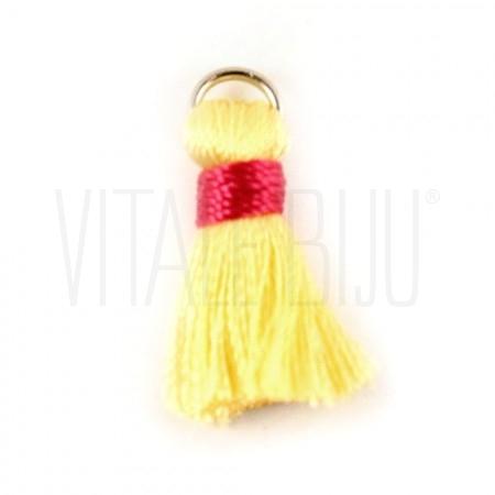 Pompom de seda amarelo/rosa 22...
